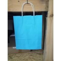 Крафт пакет голубой с кручеными ручками 250*320*110 мм