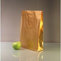 Пакет бумажный, матовое золото, 25х36х8