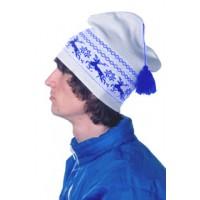 Шапка «Петушок», белая с синим