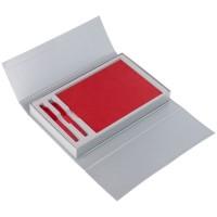 Коробка подарочная под блокнот и две ручки, серебристая