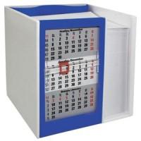Календарь настольный  на 2 года с кубариком; белый с синим; 11х10х10 см; пластик; шелкография