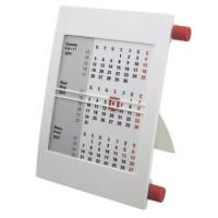 Календарь настольный на 2 года; белый с красным; 18х11 см; пластик; тампопечать