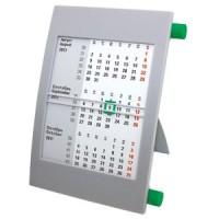Календарь настольный на 2 года; серый с зеленым; 18х11 см; пластик; шелкография