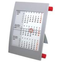 Календарь настольный на 2 года; серый с красным; 18х11 см; пластик; шелкография